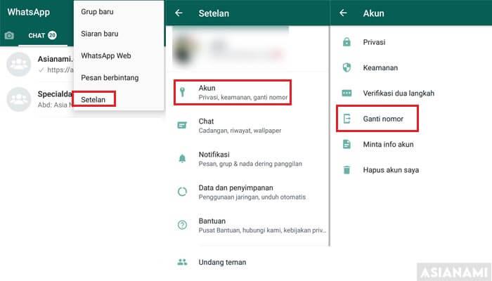 cara mengganti nomor whatsapp (WA)