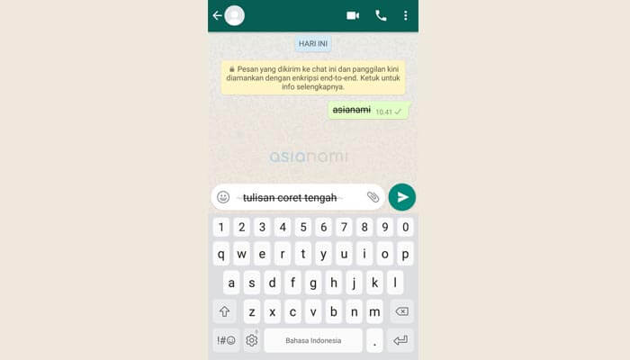 cara membuat tulisan unik huruf coret tengah di whatsapp (WA)