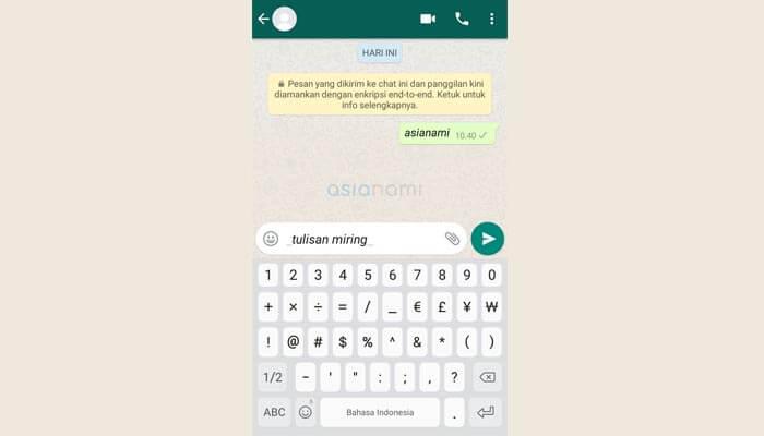 cara membuat tulisan unik huruf miring di whatsapp (WA)
