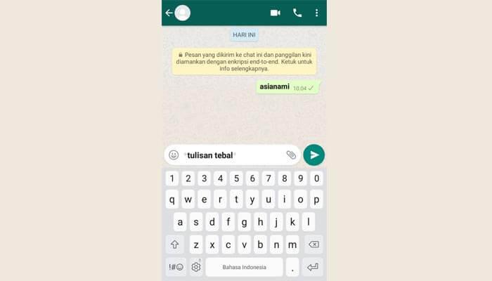 cara membuat tulisan unik huruf tebal di whatsapp (WA)