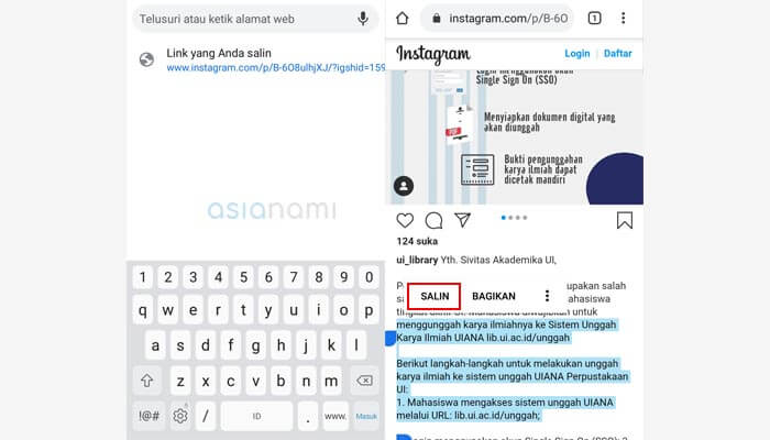 cara copy caption di instagram