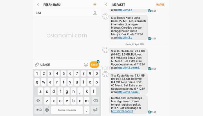 cara cek sisa kuota internet indosat im3 lewat sms