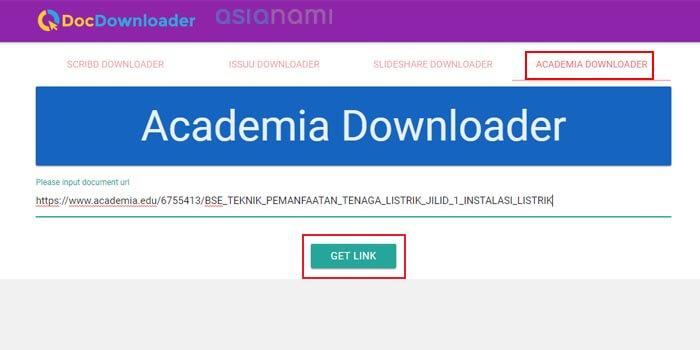 cara download file di academia tanpa login