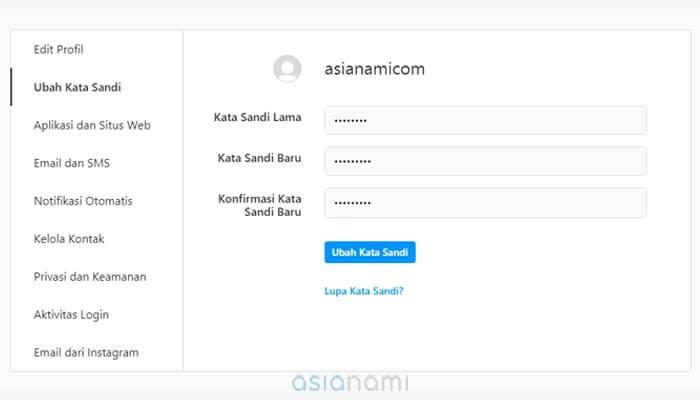 cara mengganti password instagram yang lupa