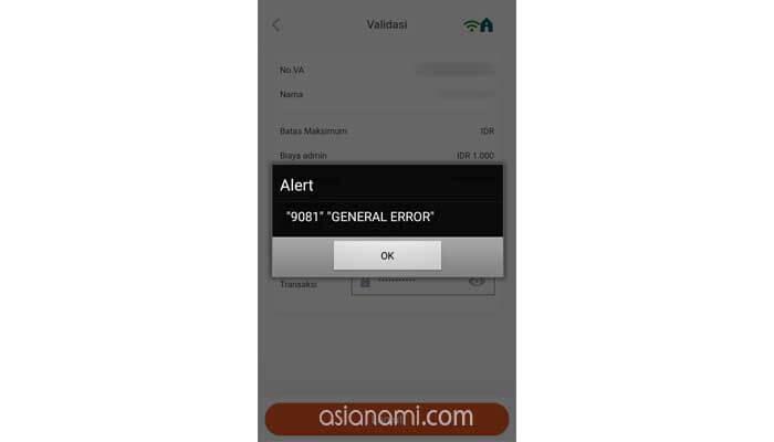BNI Mobile Banking 9081 General Error